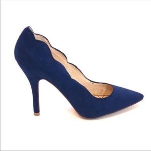 Chinese Laundry Blue Suede Scalloped Heels